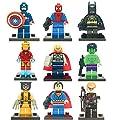 9 x iTec® Set of Marvel DC Minifigures with Tools and Bases Avengers Super Hero Spiderman Superman Batman Iron Man Hulk Thor Hawkeye Mini Figures Fits Lego itecaccessories
