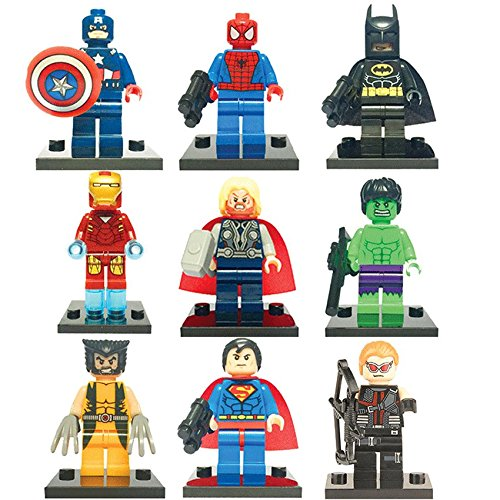 9 x iTec® Set of Marvel DC Minifigures with Tools and Bases Avengers Super Hero Spiderman Superman Batman Iron Man Hulk Thor Hawkeye Mini Figures Fits Lego itecaccessories