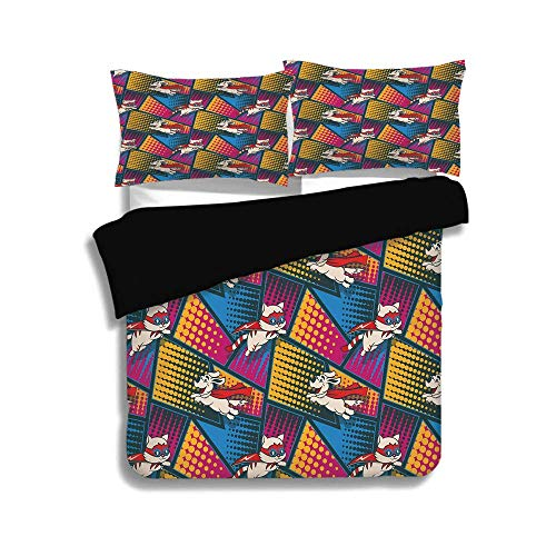 Schwarzer Bettbezug-Set, Superheld, lustige Comic-Katzen und Hunde in Umhang und Maske Heroische Kostüme Fiction Fantasy Art, Multicolor, dekorativ 3-teiliges Bettwäscheset von 2 Pillow Shams, QUEEN /