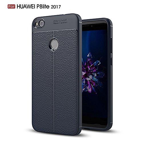 Huawei P8 Lite 2017 Hülle, MHHQ Slim PU Weiches Leder Stoßsicheres Gehäuse  Flexiblem TPU Silikon Hybrid Schutzhülle Tasche Slim-Fit Case für