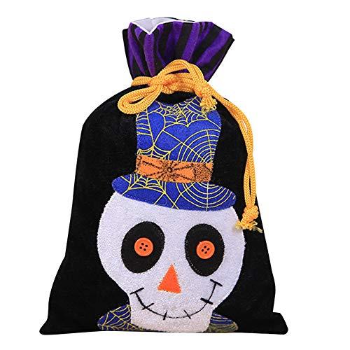 Halloween Tote-Beutel des Reusable Grocery Süßigkeit Trick or Treat Taschen Non-Woven-Gewebe-Partei-Bevorzugung Dekoration Beutel (Schwarz, Skeleton)