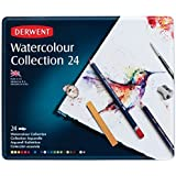 Derwent Watercolour Collection Tin Set of 24 Watersoluble Mixed Media with Accessories