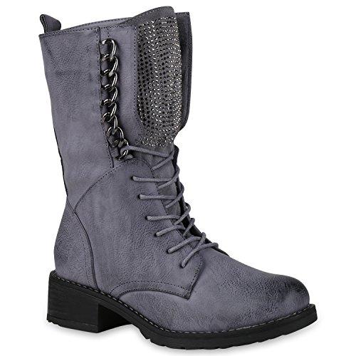 Damen Schnürstiefel Combat Boots Leicht Gefütterte Stiefel Ketten 149849 Blau Grau 36 Flandell