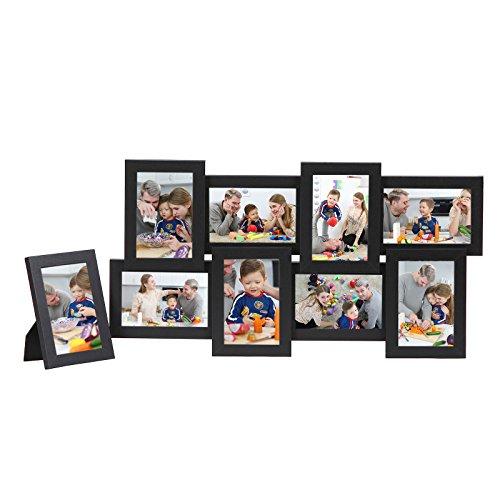 """Songmics Bilderrahmen Collage für 8 Fotos je 10 x 15 cm (4 x 6"""") + 1 x einzelner Fotorahmen aus MDF-Platten schwarz RPF108H"""