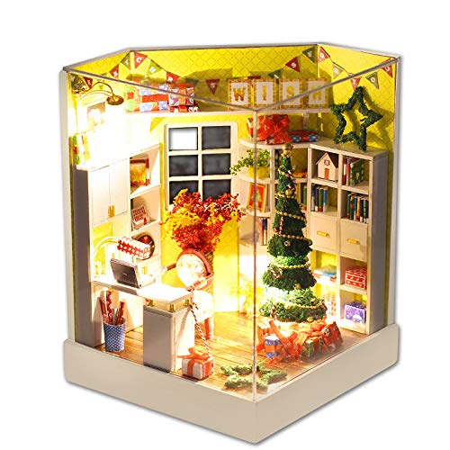 DIY Handarbeit Holzhaus,Wawer Kreativ Miniatur Haus Möbel LED Haus Dekorieren Kreative Weihnachts Geschenke Kreative Puppen haus Spielzeug