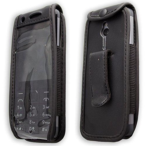 caseroxx Handy-Tasche Ledertasche mit Gürtelclip für Nokia 230 aus Echtleder, Handyhülle für Gürtel (mit Sichtfenster aus schmutzabweisender Klarsichtfolie in schwarz)
