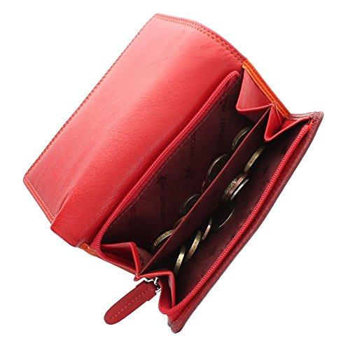 Portafoglio di pelle tri-fold. Visconti collezione Rainbow BORA RB43 Bacca Multi Rosso Multi