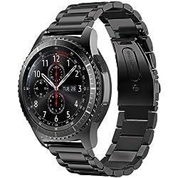 YaYuu Gear S3 Frontier/Classic Bracelets de Montre, 22mm Bande de Remplacement en Acier Inoxydable Métal Sangle Sport Strap pour Samsung Galaxy Watch 46mm/Gear S3 Frontier/S3 Classic Smart Watch