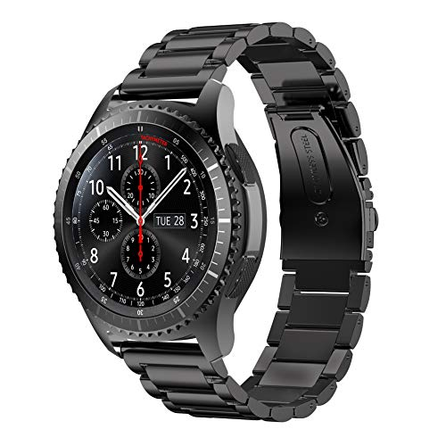 YaYuu Samsung Galaxy Watch 46mm/Gear S3 Frontier/Classic Armband, 22mm Edelstahl Metall Ersatz Verstellbare Uhrenarmbänd Strap Sports Armband für Samsung Gear S3 Frontier/Classic Fitness Smart Watch