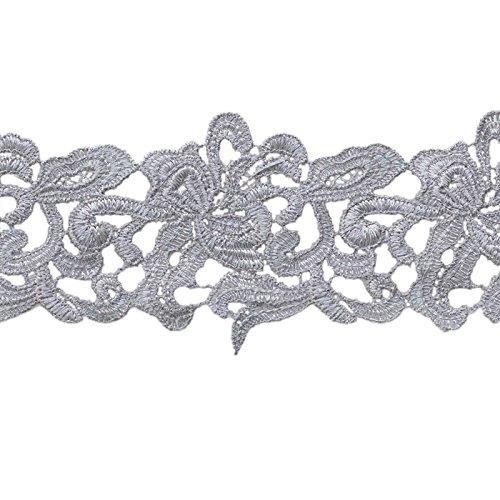 maDDma ® 1m/Meterware Bestickte Spitze Breite 75mm, verschiedene Farben, Farbe:grau