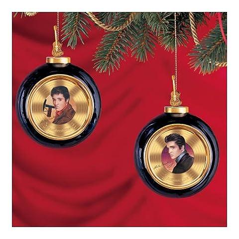 Elvis Presley en or massif en porcelaine d'antan Ornement de One: Lot de deux par le Bradford éditions