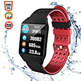CatShin Fitness Tracker Fitnessuhr CS04 IP68 Fitness Armband Smartwatch Wasserdicht Armband Sport Uhr Activity Tracker für Damen Herren Kinder Schrittzähler Blutdruck Pulsmesser Kalorienzähler-Rot