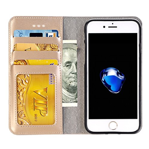 iPhone Case Cover 2 en 1 pour iPhone 7 Plus Horizontale Flip étui en cuir avec séparable magnétique Back Cover Shell & Crad Slots & Wallet & Cadre photo ( Color : Black ) Gold