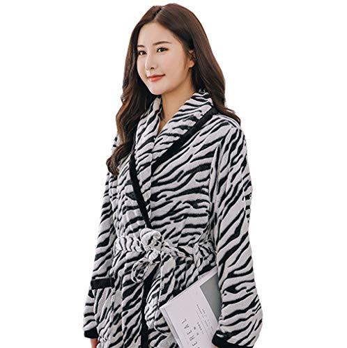 Lw robe, da donna, in flanella tinta unita, vestaglia, pigiama, morbido accappatoio in cotone con tasche,zebrafemale2,m