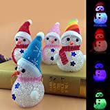 TIED RIBBONS Christmas Light Decorations for Home Office Outdoor Living Room Wall Door LED Cute Colorful Snowman Toys Hanging Ornaments-Pack of 4