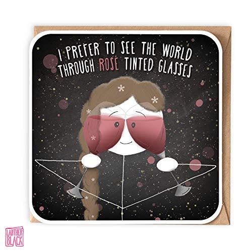 Rose getönte Gläser, lustige Rosé-Karte, Weinliebhaber, Geburtstagskarte für sie, rosa