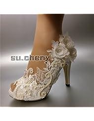 JINGXINSTORE perlas Blanco satén puntillas Flores Open toe zapatos de boda Nupcial 8 cm/3