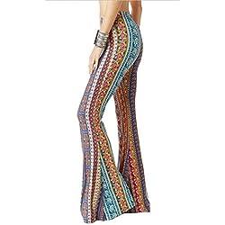 Pantalones mujer Pantalones bootcut cómodos - Hibote Pantalones acampanados de cintura alta Estampado de flores pantalones casuales Desgaste festivo de la tarde Partywear