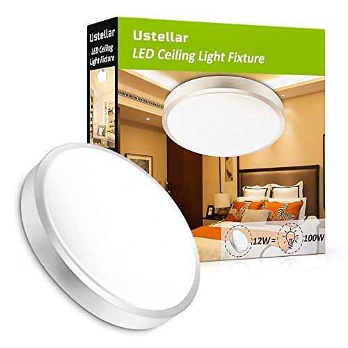 flur deckenleuchte Ustellar 12W LED Deckenleuchte ersetzt 100W Glühbirne, Warmweiß 3000K Deckenlampe, Ø25,4cm, 1000lm, Wohnzimmerlampe Schlafzimmerleuchte, ideal für Balkon Flur Küche Wohnzimmer