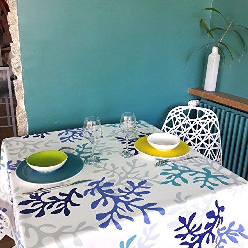 Fleur de soleil Nappe Corail Bleu Coton Enduit 160x160