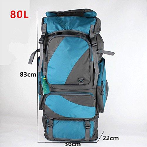 Zaino di outdoor zaino borsa a tracolla alpinismo grande capacità zaino escursionismo zaino da viaggio panno Oxford impermeabile (60L), Orange (80L) Sky blue (80L)