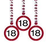 Set 3 pz Ghirlanda 18 Anni Segnale Stradale da Appendere con Spirale Metallica - Pendagli Festone Compleanno Banner Targa Cartello Diciottesimo