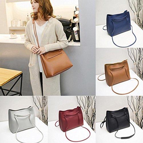 Damen Handtaschen, Huhu833 Mode Frauen Leder Umhängetasche Schultertasche Handtasche Totes Eimer Tasche Rot