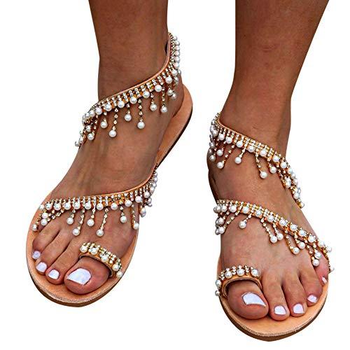 Alivier sandali piatti open toe da donna, sandali aperti, scarpe con tacco a spillo, perle boho