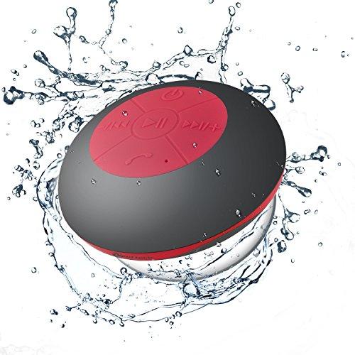 Neuftech® altoparlante cassa speaker bluetooth impermeabile da doccia portatile con microfono incorporato per iphone e smartphone android e tablet pc, ecc (rosso)