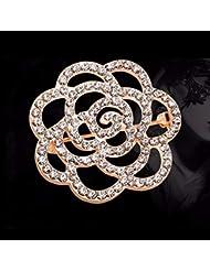 KUNQ Regalo Pareja/Regalo Navidad/Broche De Diamantes De Moda Lindo Bufanda Hebilla Broche De Cristal como Copo De Nieve Broche E