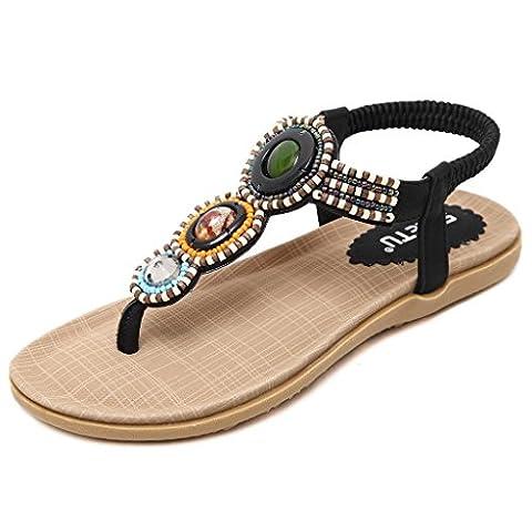 Minetom Sommer Damen Mode Flach Flip Flops Bohemia Zehentrenner Hefterzufuhr Flats Thong Strand Sandalen Schwarz EU 36