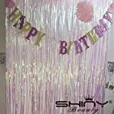 Shinybeauty Folie Fransen Dekoration Geänderte weiß Vorhang für Hochzeit Geburtstag Event Bühne Party Dekoration 3 ftx8ft glitzernde Folie Fring Hintergrund für Hochzeitsfeier (Geänderte weiß) -