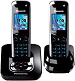 Panasonic KX-TG8422GB schnurloses DECT-Telefon Duo mit Anrufbeantworter schwarz