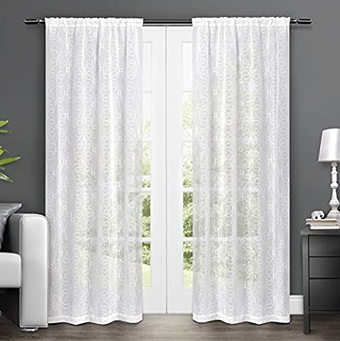 Exclusive Home Salzburg Embroidered Semi-Sheer Rod Pocket Window Curtain Panels (Set of 2), 50 x 84, White by Exclusive Home Curtains