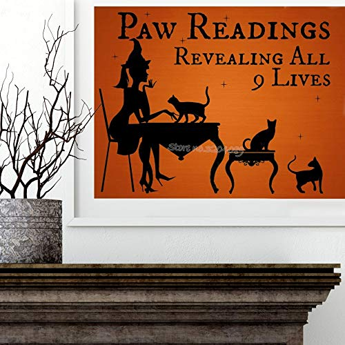 56x46cm Halloween Hexe mit schwarzer Katze Wandaufkleber Pfotenlesungen enthüllen alle 9 Leben Wandtattoo Allerheiligen Party Tapete