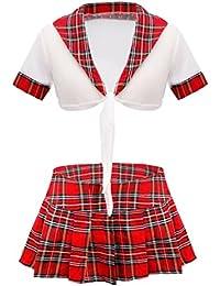 iEFiEL Femmes Sexy Lingerie Costume de Cosplay Ecolière Uniforme Séduisante Jeu de Rôle Scolaire Déguisement Minie Jupe Tenus M-XL