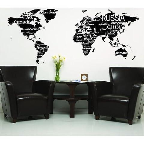 Mapa del mundo con países negro letras de vinilo pared diciendo decoración del hogar de vinilo pegatinas