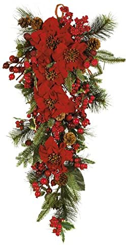 Nearly Natural 4656 Poinsettia Teardrop- Red-