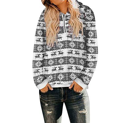 (MYMYG Frauen Weihnachten mit Kapuze Elch drucken Sweatshirt Mantel Winter warme Wolle Reißverschluss Taschen Outwear Große Größe Pullover Rundhals Langarm Oberteile Bluse)