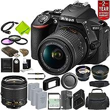 Nikon D5600 DSLR Camera With 18-55mm VR AF-P Lens (Black) 1576 + EN-EL14A Rechargeable Li-Ion Battery + External Rapid Charger + Sony 128GB UHS-I SDXC Memory Card + 58mm Wide Angle Lens Bundle