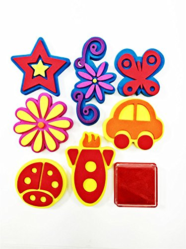xmas-foam-stamp-set-8-shapes-stamping-stamper-ink-pad-animal-nature-flower-fruit