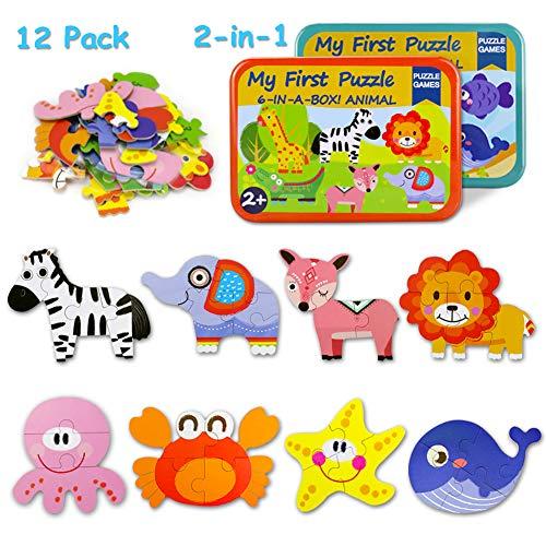 Kinder Tier Holzpuzzle Pädagogisches Spielzeug Puzzle Jigsaw Puzzles Set Kinderpuzzle Lernspielzeug Geeignet für Jungen und Mädchen ab 3 4 5 Jahren. ()