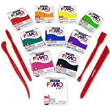 FIMO Soft Polymer Oven Modelling Clay - 57g - Beginners Set - 10 Colours + FIMO...