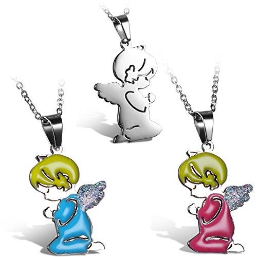 JewelryWe Schmuck Damen Frauen Halskette, Niedliche Betende Engel Mädchen Anhänger mit 45cm Kette, Edelstahl, Silber Pink Blau
