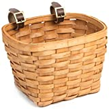 Retrospec Bicycles The Gingham Hand Woven Wood Picnic Bike Basket with Authentic Leather Straps & Brass Buckles, Cedar