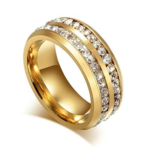 Aooaz acier inoxydable anneau charme Style élégant Double lignes avec CZ Cristal doré unisexe Anneau demi-jonc taille 59