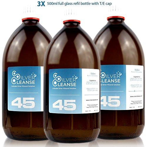 SilverCleanse Colloidal Silver 45ppm Triple Pack (3x 500ml Glass Bottles & T/E Cap) Test