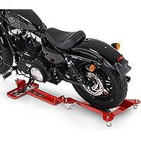 ConStands Motomover II - Motorrad Rangierschiene Kawasaki VN 900 Classic Rot Rangierwagen Rangierhilfe Seitenständer Hinterrad