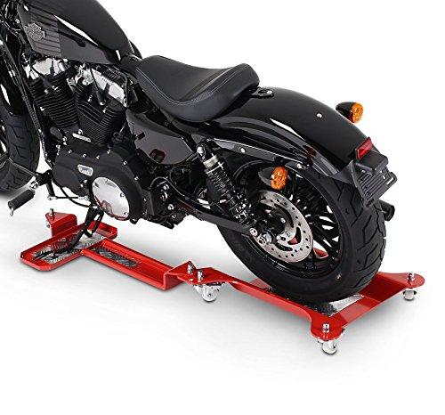 ConStands Motomover II - Motorrad Rangierschiene für Harley Davidson Sportster Forty-Eight 48 (XL 1200 X) Rot Rangierwagen Rangierhilfe Seitenständer Hinterrad