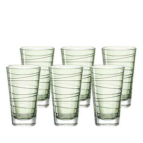 Leonardo Vario Struttura Becher groß Verde, 6-er Set, 280 ml, hellgrünes Klarglas mit Colori-Hydroglasur, 018237